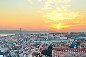 Lisbon sunset skyline, Portugal