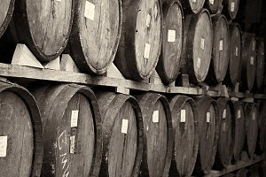 wine barrels stracked