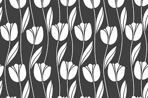 Monochrome tulips. Seamless pattern