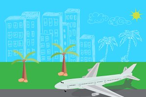 airplane, landing, illustration