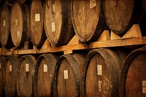 wine barrels stacked