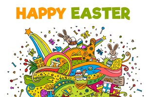 Doodle Happy Easter Illustrations