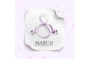 March 8 greeting card template.