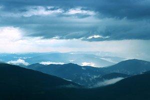 Landscape with Carpathian mountains