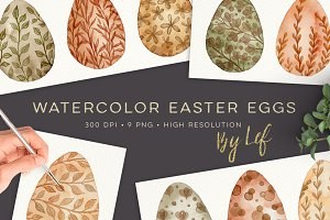 Watercolor Easter Eggs graphics