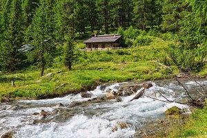 Mountain stream with malga