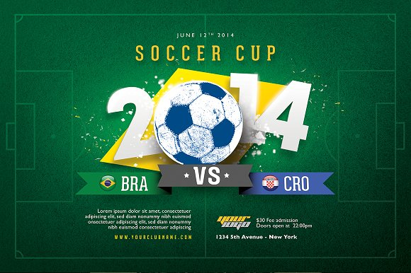 soccer cup flyer template flyer templates creative market