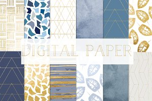 digital paper gold and blue