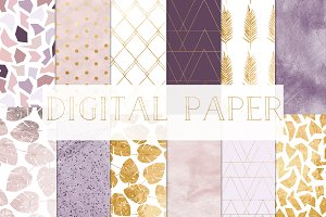 digital paper gold and purple
