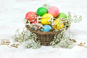 Easter eggs with white flowers