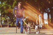 Elderly man walking his dogs
