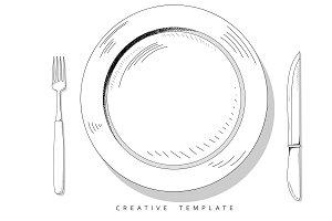 Set sketch cutlery
