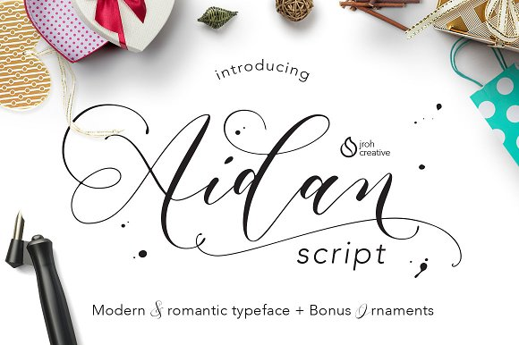 Aidan Romantic Script Fonts Creative Market