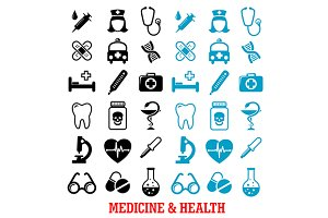 Medicine and health flat icons