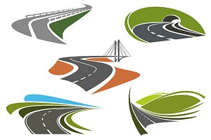 Bridge, highway, freeway, road icons