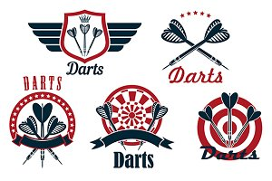 Darts game emblems and icons
