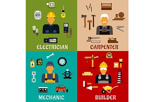 Builder, electrician, mechanic icons
