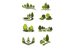 Park and garden landscape icons