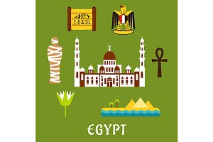 Egypt travel landmarks and symbols