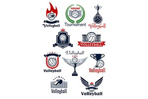 Volleyball sport game heraldic icons