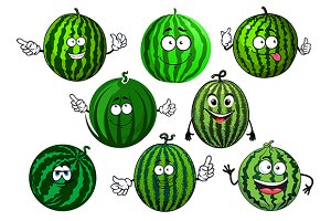 Ripe green striped watermelons