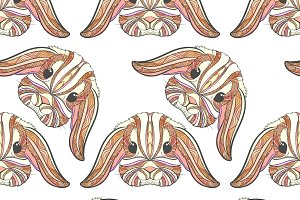 Seamless pattern rabbit in boho