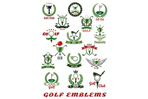 Golf sport icons and symbols set