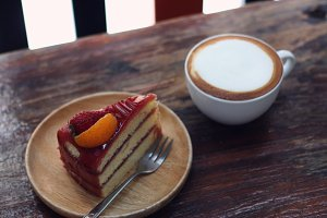 cake and cappuccino