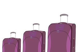 travel, bag, luggage, flat, vector