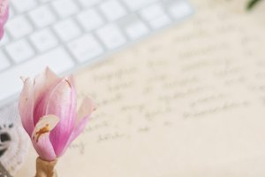 Keyboard & Pink Flowers