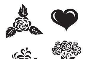 set of flowers with heart, icons