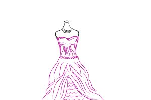 pink dress, sketch, vector