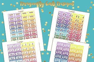 Rainbow Family Printable Stickers