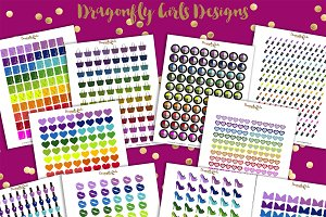 Rainbow Glam Printable Stickers