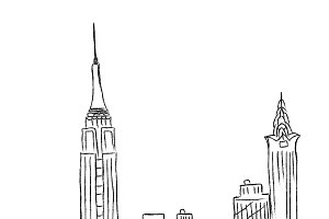 New York, city, sketch, vector