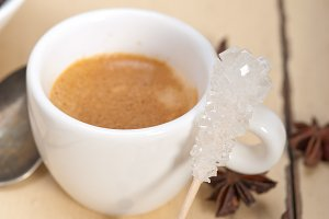 espresso coffee with sugar and spice