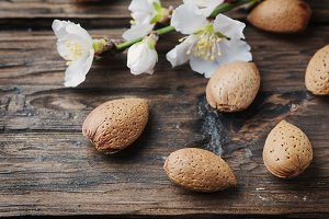 Fresh almonds on the table