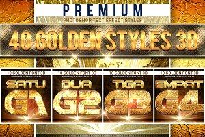 40 Golden Font 3D