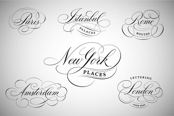 New York, London, Paris  etc. logos