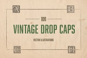 100 Vintage Illustrated Drop Caps