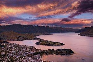Queenstown at sunset, New Zealand