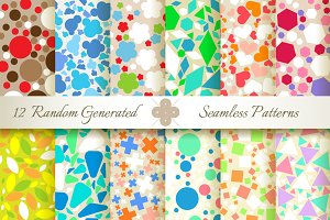 12 Seamless Generated Retro Patterns
