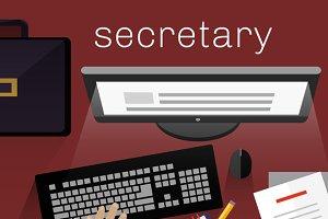Workspace Secretary Design Flat