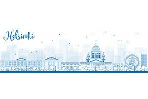 Outline Blue Helsinki Skyline