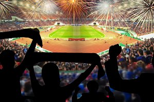 stadium with colorful fireworks