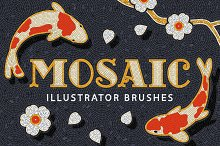 Mosaic Tile Illustrator Brushes by  in Add-Ons