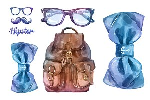 Watercolor hipster clothes (vector)