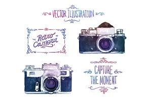 Vector watercolour cameras (set1)