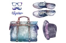 Watercolor hipster clothes2 (vector)