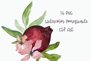 Watercolor Pomegranate Clip Art
